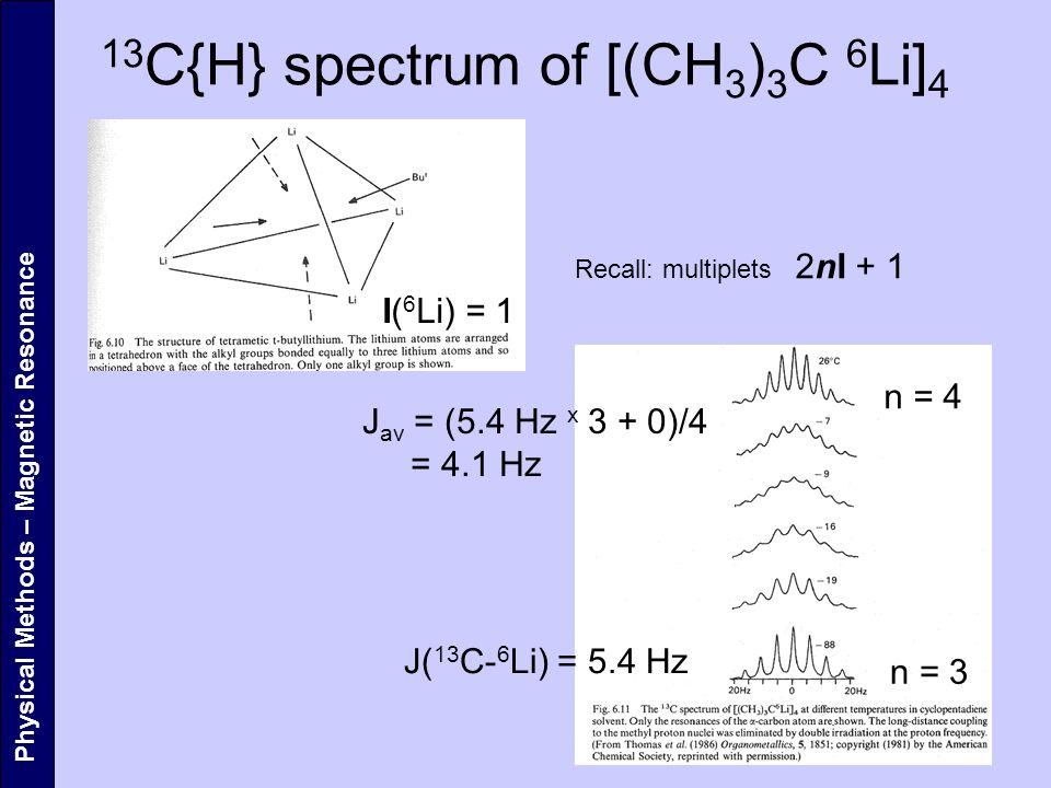 13C{H} spectrum of [(CH3)3C 6Li]4